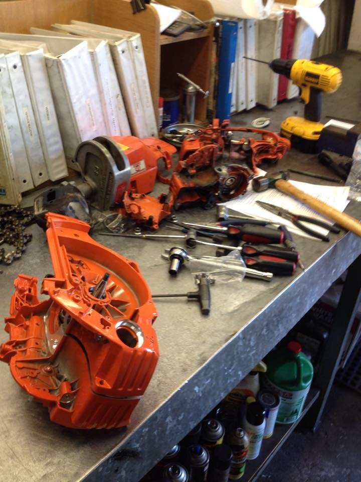 rescue saw torn apart ready to be cleaned and services