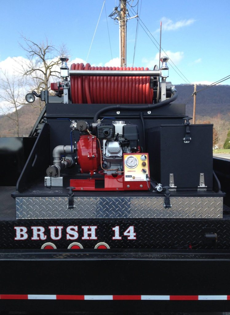 skit unit on back of a brush fire truck