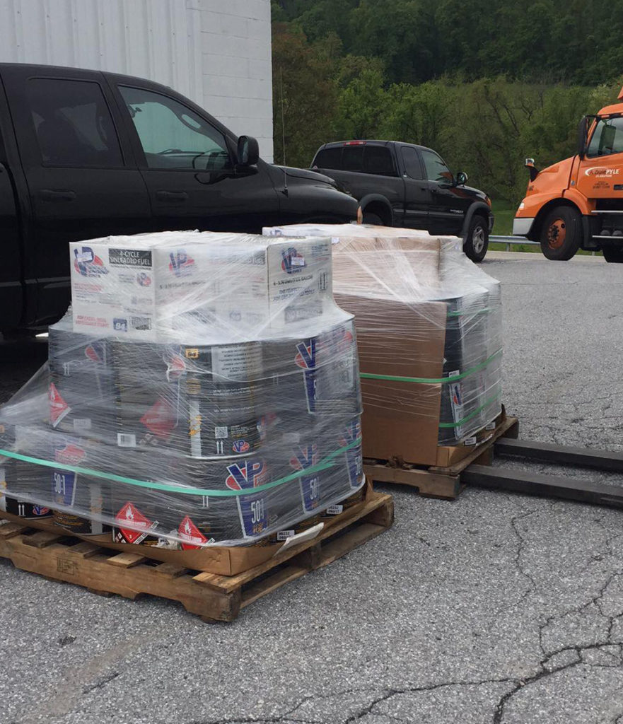 pallet of racing fuel just delivered and shrinkwraped